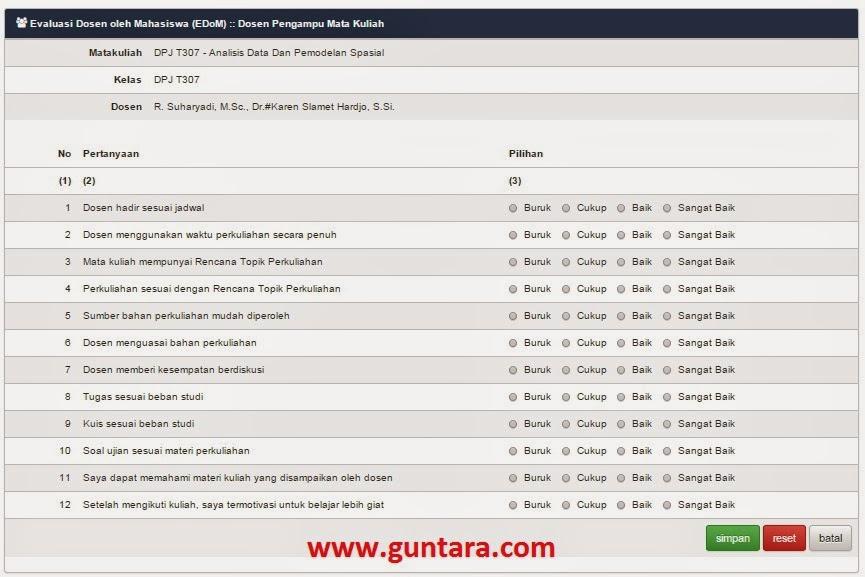 Mengisi EDoM per Mata Kuliah yang Diambil www.guntara.com