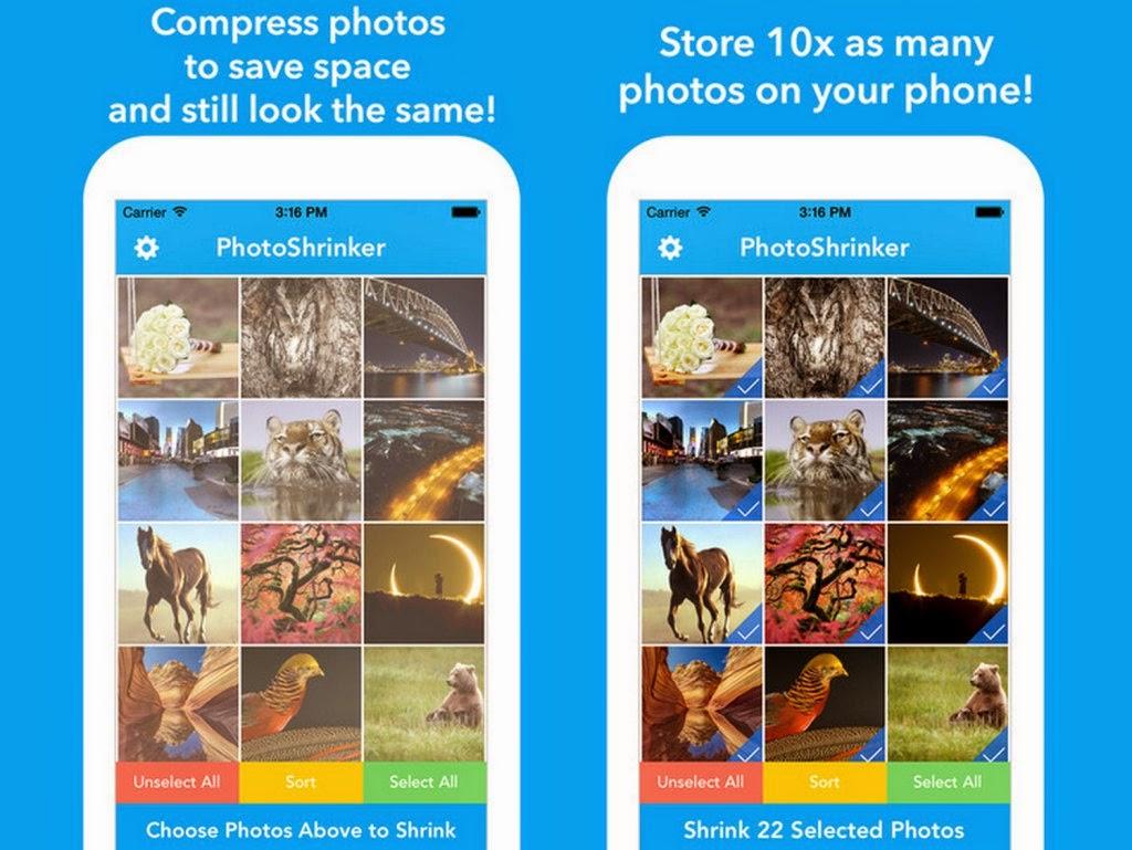 Photoshrinker te ayuda con el espacio en tu móvil