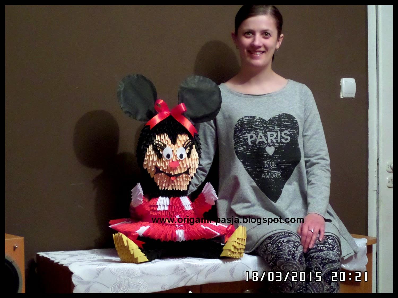 Myszka Minnie Mouse - origami 3d