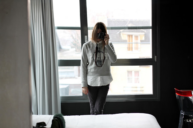 Wearing Acne Paris sweatshirt in Mama Shelter