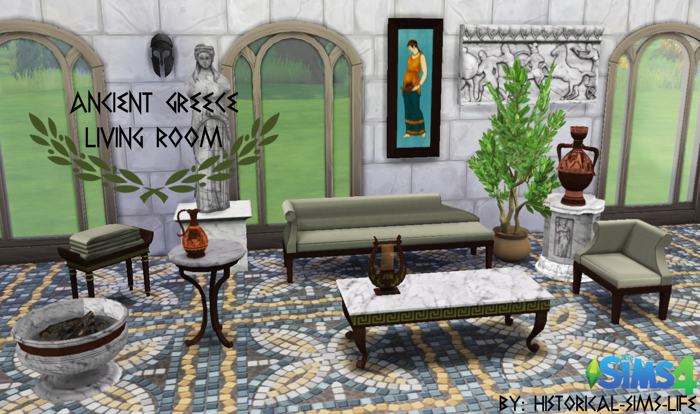 Ts4 ancient greece living room set history lover 39 s sims for Klaus k living room