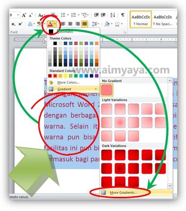 Gambar: Memilih format warna gradient