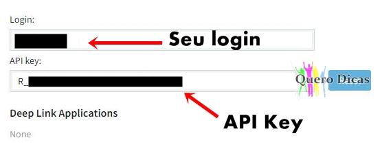 LOGIN e API KEY