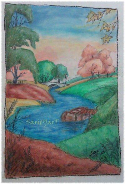 paisaje puente en el rio realizado con ceras blandas