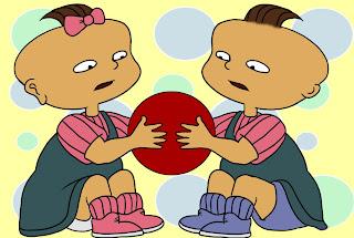 Gemelos peleando http://criandomultiples.blogspot.com