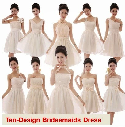 Ten-Design Ivory Cream Mid Bridesmaids Dress