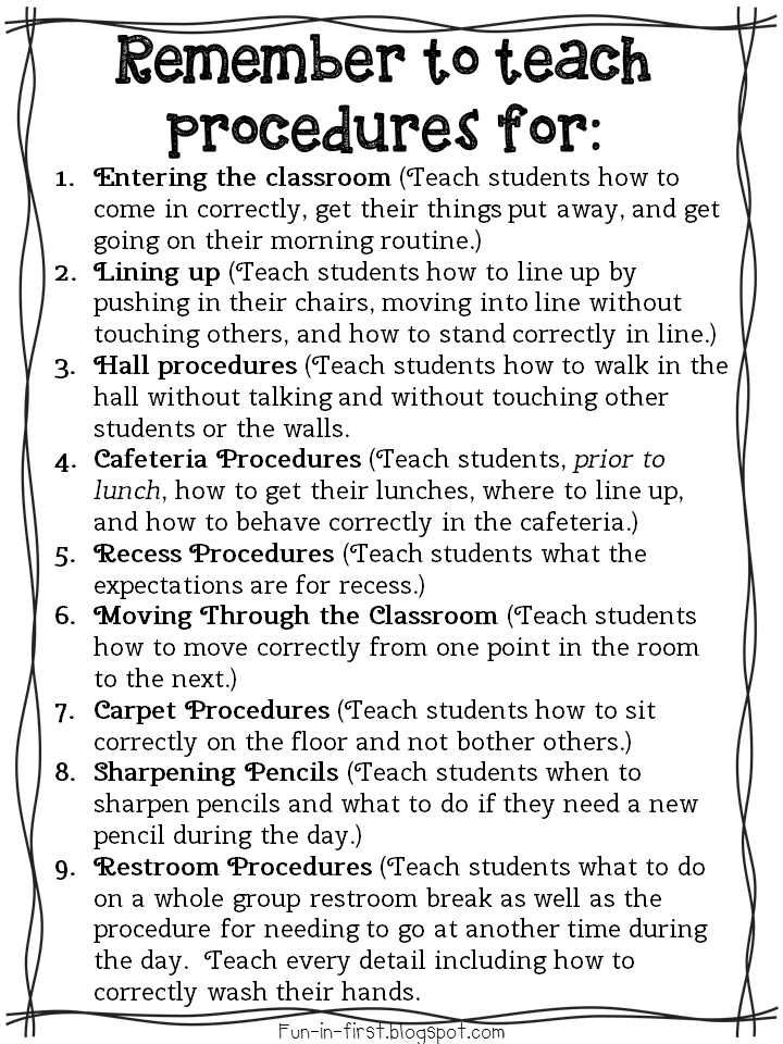 http://www.teacherspayteachers.com/Product/Procedures-to-Teach-on-the-First-Day-of-School-Freebie-1350637