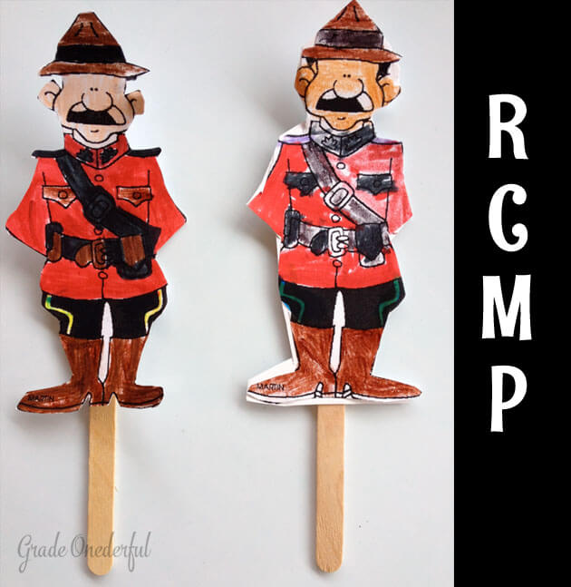 Grade Ones coloured paper RCMP characters and glued them to craft sticks for a stick puppet.
