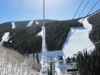 A view of four tough Black Diamond and Double Black Diamond runs from the top of Golden Peak.