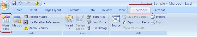 Opening Visual Basic editor in Excel