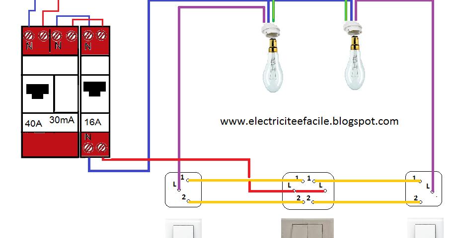 Schema electrique sch ma lectrique du double allumage va et vient - Double interrupteur va et vient ...
