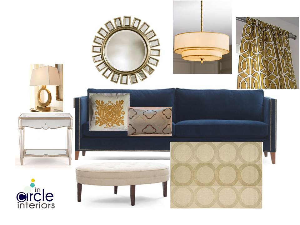 incircle interiors blue gold living room design board