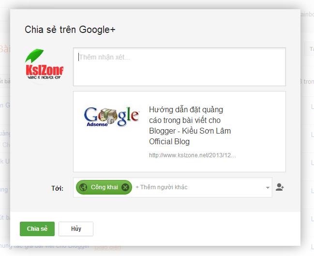 Chia sẻ bài viết lên Google+ cho Blogger