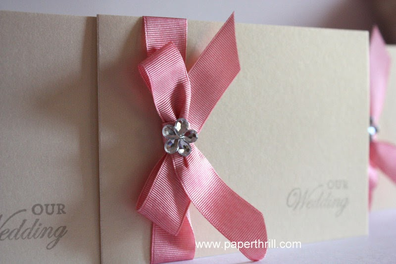 pink ribbon grosgrain dainty daisy wedding invitations