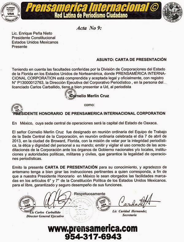 ACREDITACIÓN OFICIAL DE PRENSAMERICA INTERNACIONAL CORPORATION.