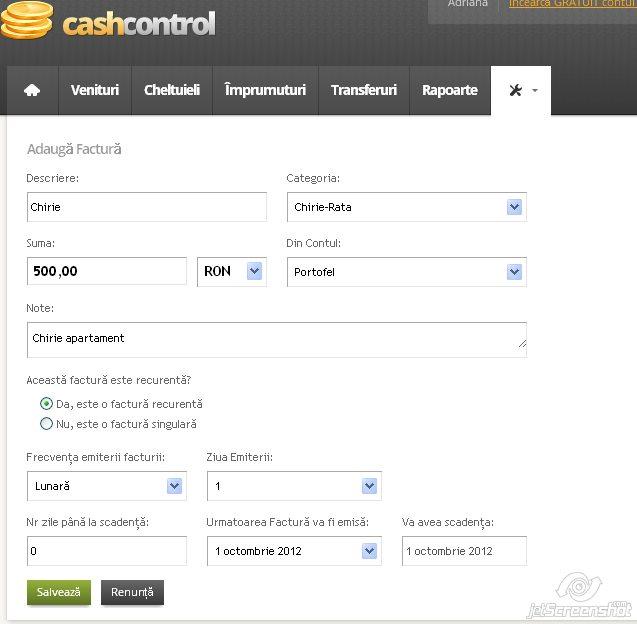 cash control, adaugarea unei facturi recurente