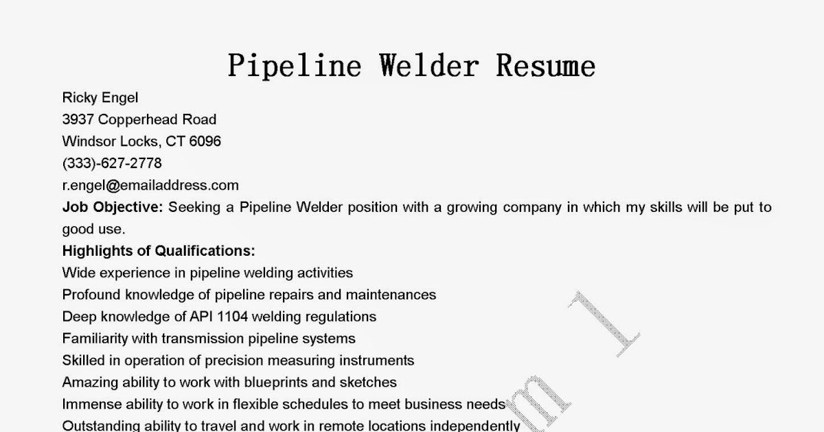 Free resume sample welder