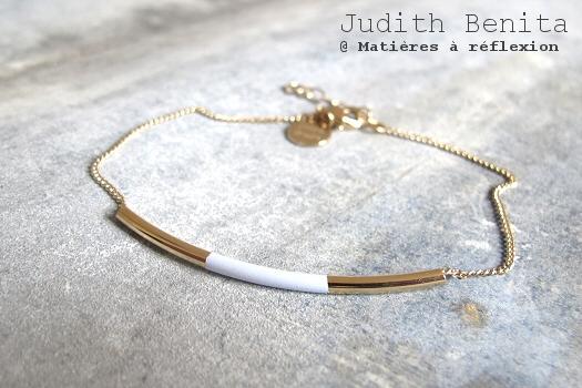 Bijoux dorés Judith Benita bracelet bleu ciel Tube