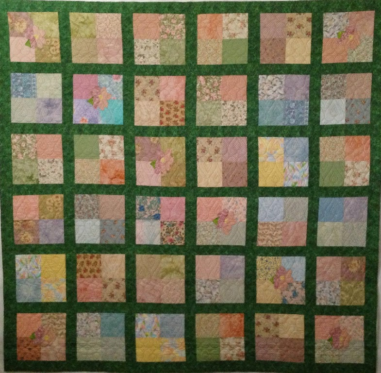Fran Hodges's Squares in Green Sashing Quilt