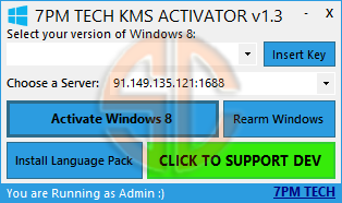Windows 8 KMS Activator v1.3 by Aaron7pm | SAZLINA NET