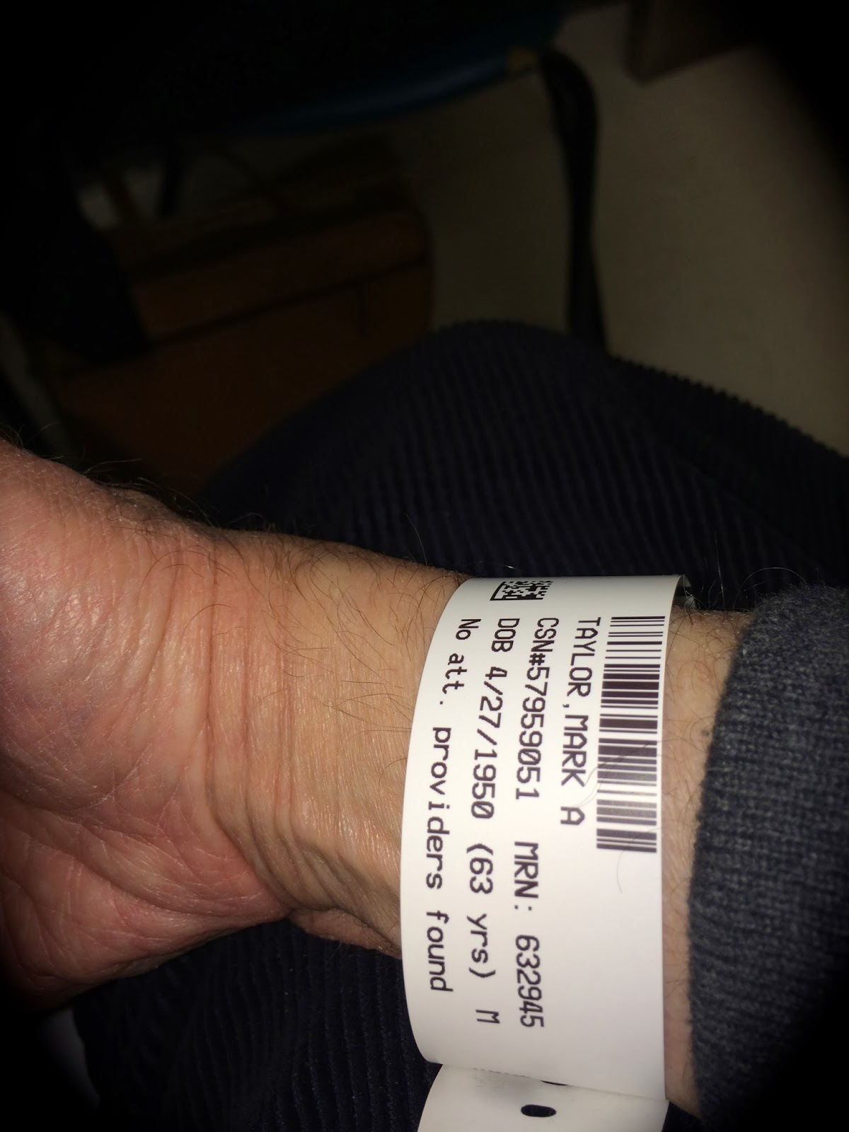 Here S The Pic I Sned Of My Hospital Bracelet At Bethesda North Emergency Room Where Went For Treatment After Slipping On Ice Breakfast And