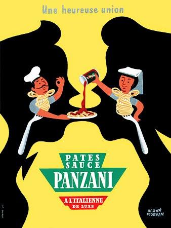 vintage Panzani noodles ad by Herve Morvan