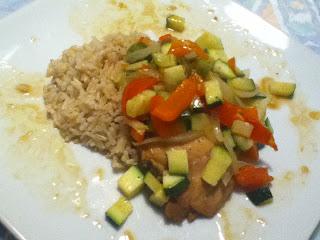 Skinless, Boneless Chicken adobo thighs with Seasonal Vegetables