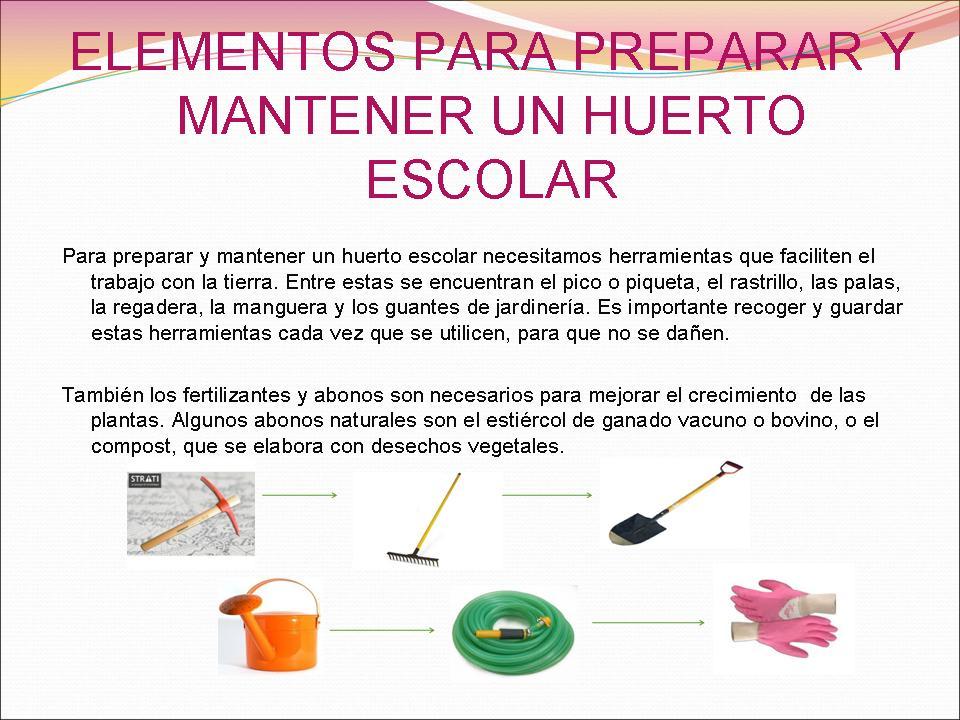 Huerto escolar for Herramientas que se utilizan en un vivero