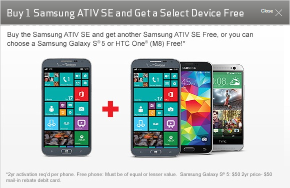 Samsung ATIV SE for Verizon available for pre-order with Buy One Get One offer