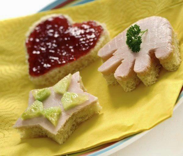 Merienda Divertida para Cumpleaños : Sandwiches con formas