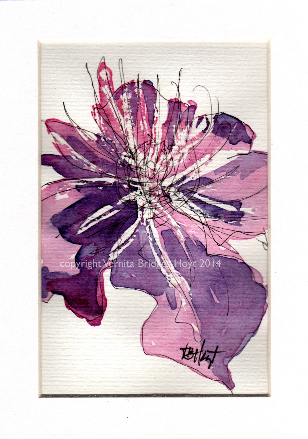 watercolor painting of Clematis flower