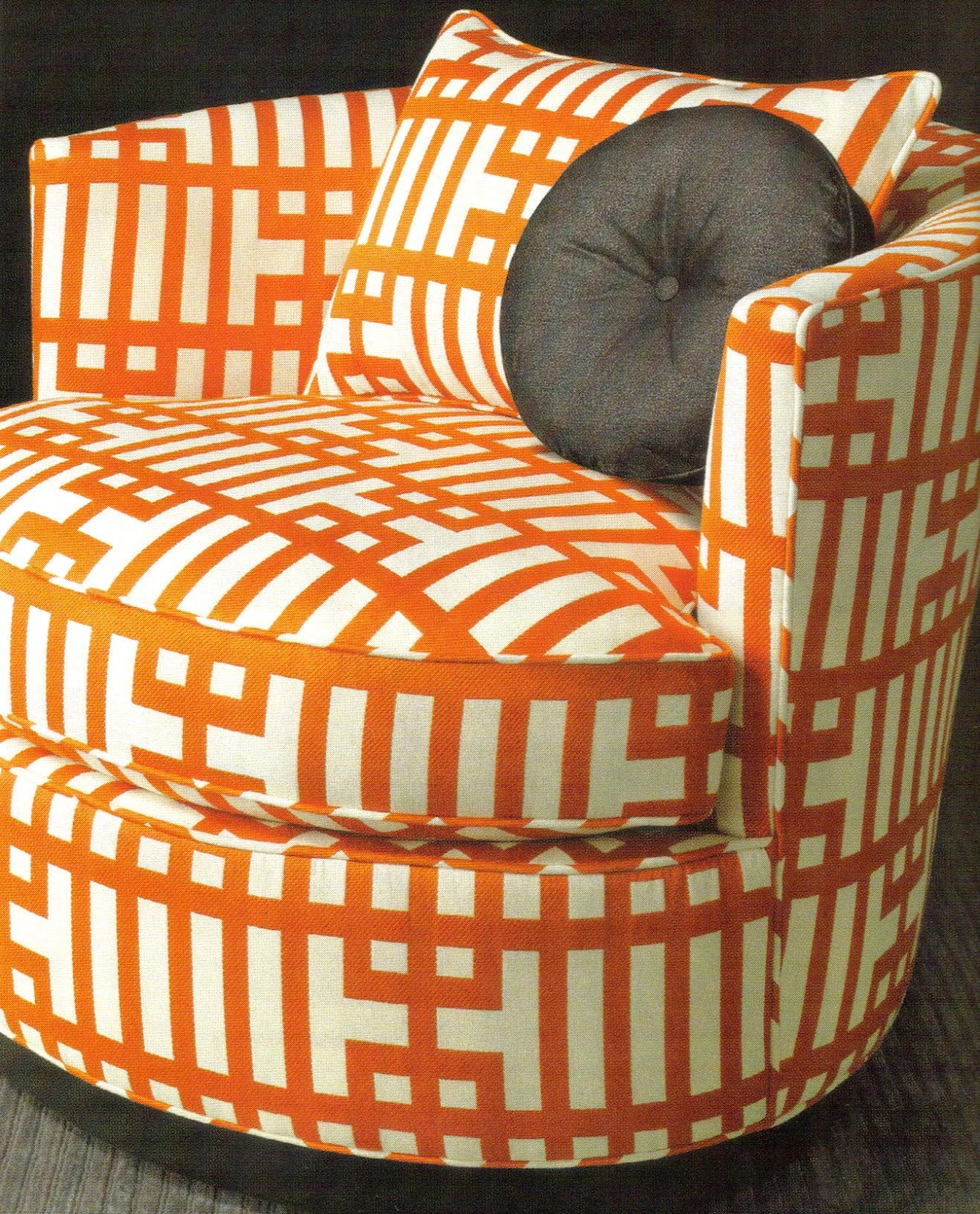 Fab Tangerine Kravet Fabric On Chair And Pillow