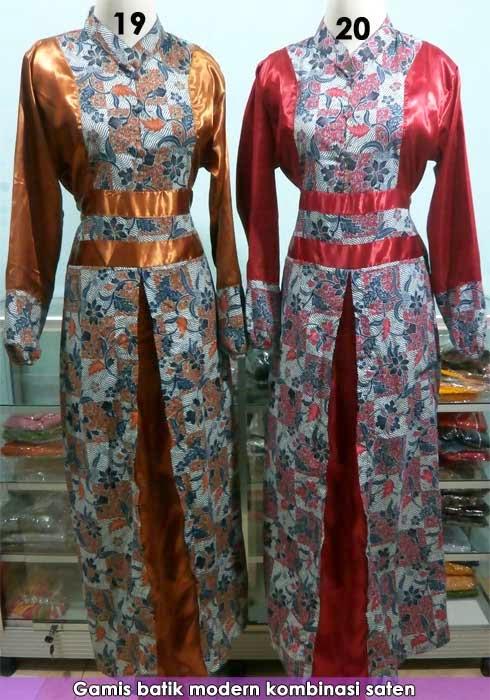 Model baju gamis batik kombinasi modern 2015 Model baju gamis batik muslimah terbaru