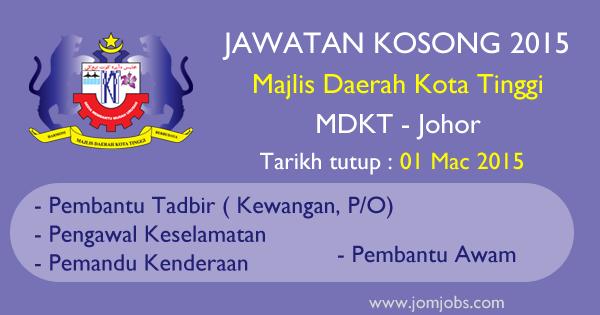 Jawatan Kosong MDKT 2015 - Majlis Daerah Kota Tinggi, Johor