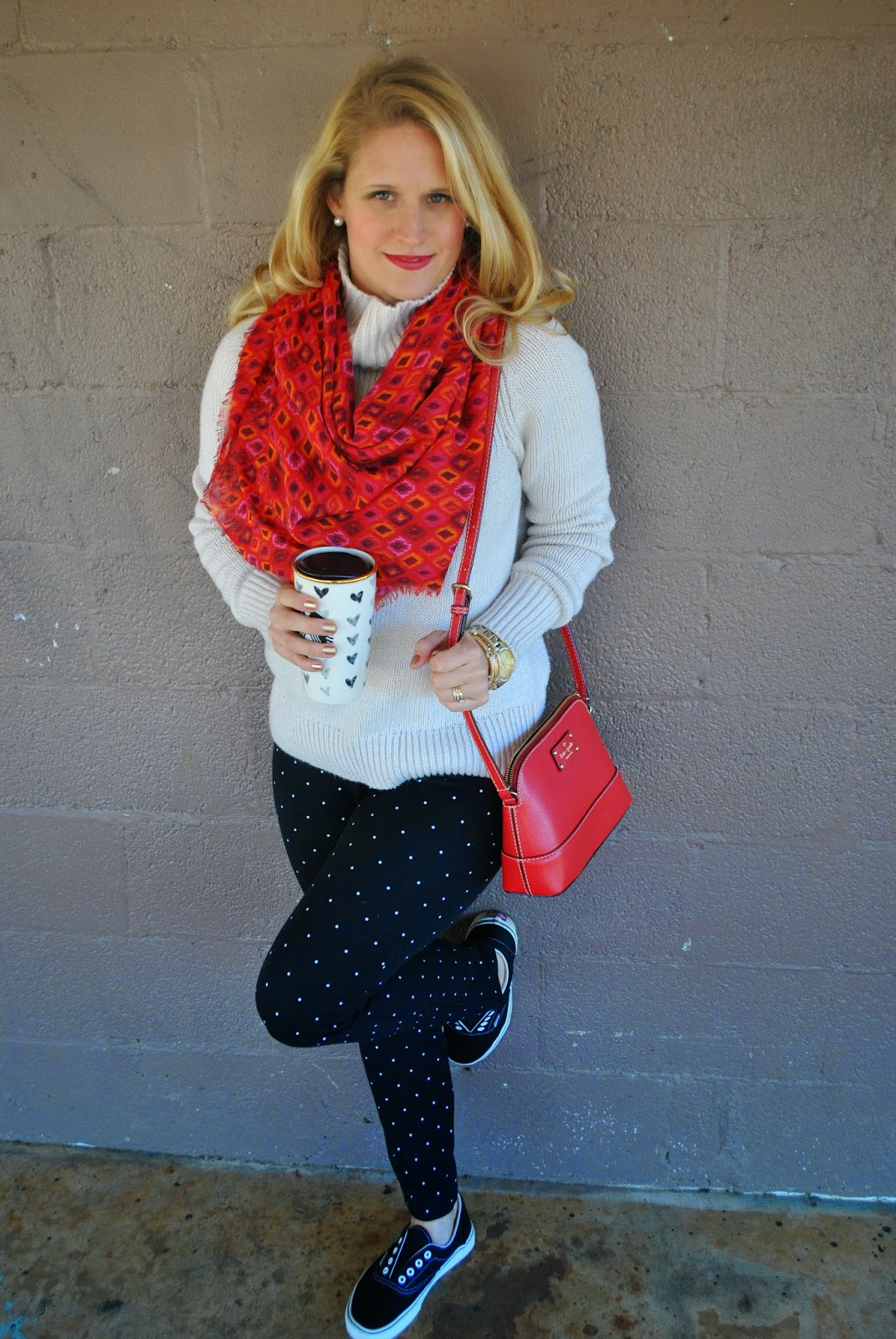 Old Navy Polka Dot Pixie Pants~Old Navy Cozy Knit Sweater~Pops of Color