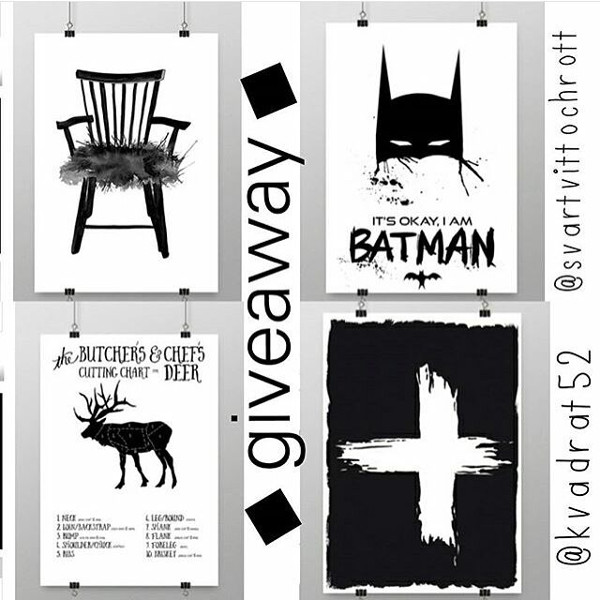 giveaway, tävling, tävlingar, svart och vitt, tavlor, tavla, batman, batmantavla, stol, stolar, stolen, styckningsdetaljer, styckningsschema hjort, vilt, kors, svartvita posters, poster, print prints, konsttryck, annelies design, webbutik, webbutiker, inredning, inredningsgsblogg, bloggar, nettbutikk, nettbutikker, plakat, plakater, affisch, affischer, barnrum, kökstavla, tavlor till köket, instagramtävling, instagramtävlingar