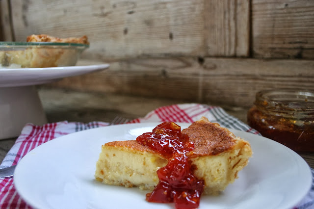 Sweet Corn Custard Pie with Tomato Jam Slice