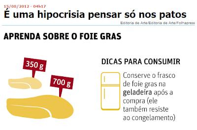 Em postura esquizofrênica, Folha de S. Paulo critica e exalta o foie gras na mesma página