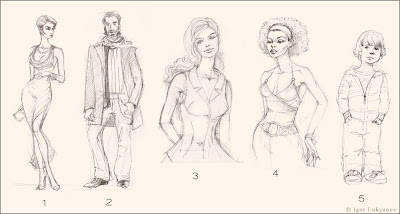 bozzetti moda uomo, donna, bambini