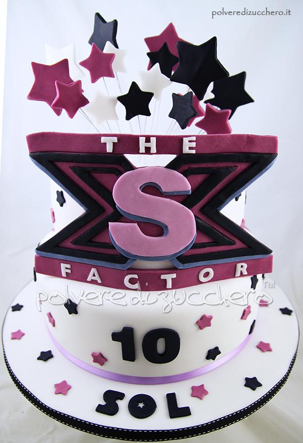 torta decorata in pasta di zucchero in stile x-factor