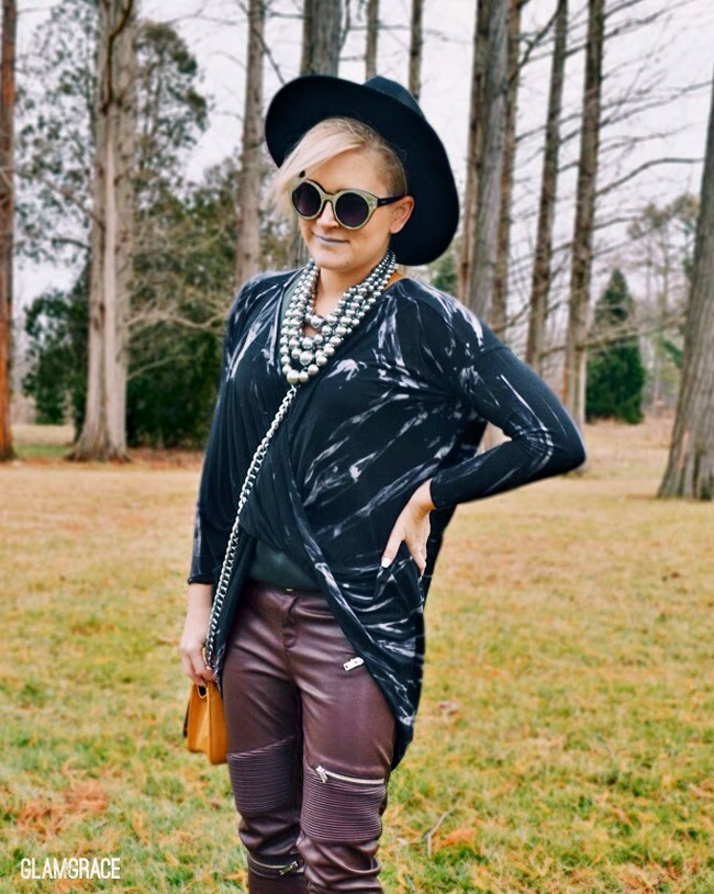 trending - faux leather and oversized top