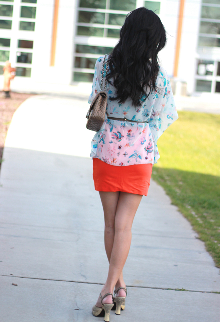 orange blue outfit mini skirt colorblock fashion style