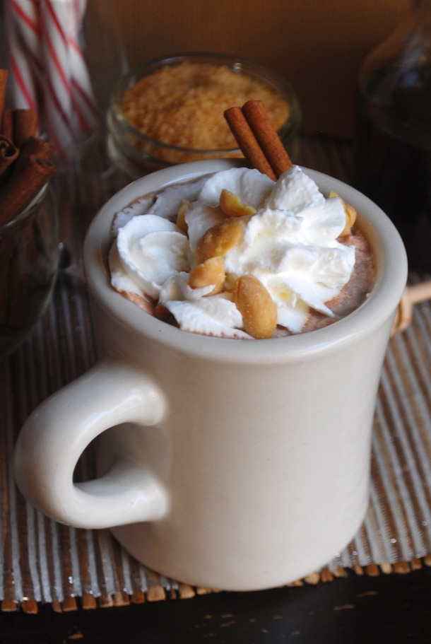 Fluffernutter Hot Chocolate with Roasted Salted Peanuts - Always Order ...