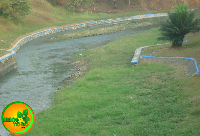 FOTO : Dilihat dari atas jembatan sungai ini tampak seperti galian parit kecil.