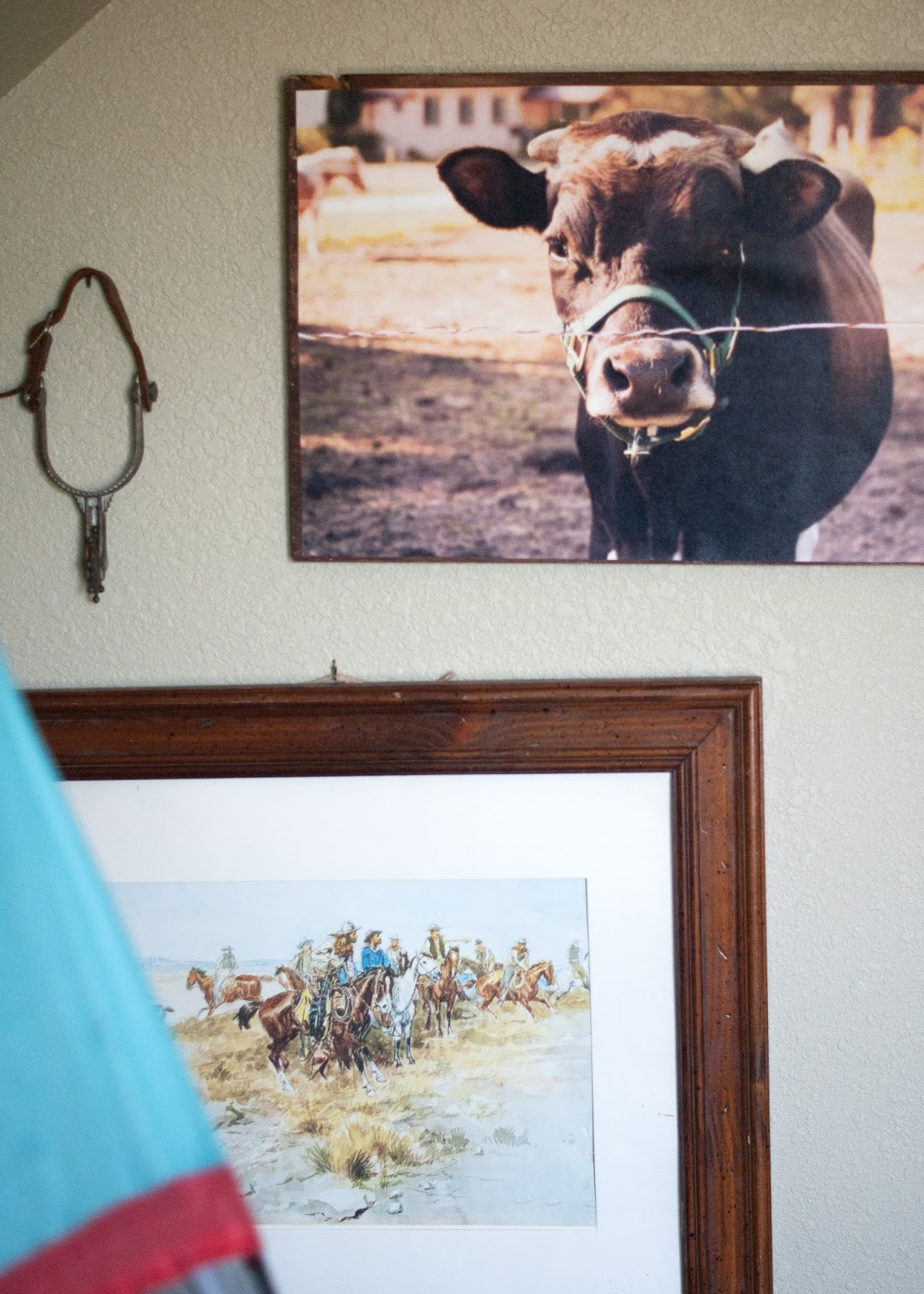 Russel Print, Cow Artwork and child's spur in Vintage Western Room