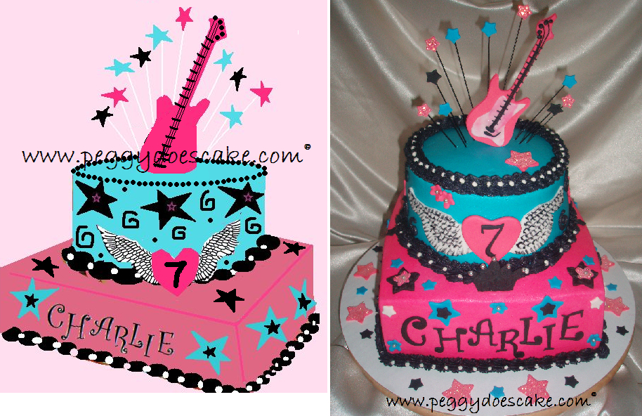 Peggy Does Cake Rocker Girl Birthday Cake Click photos to enlarge