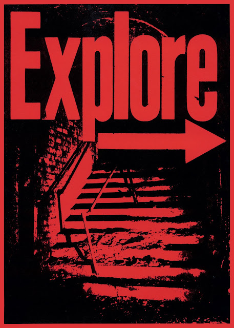 poster, riso, screenprint, propaganda, explore, urbex, urban exploring, manchester, arches, place hacking, half tone, urban, black, red, gritty, protest, revolution, graphic design, design, art, travel, adventure, craft