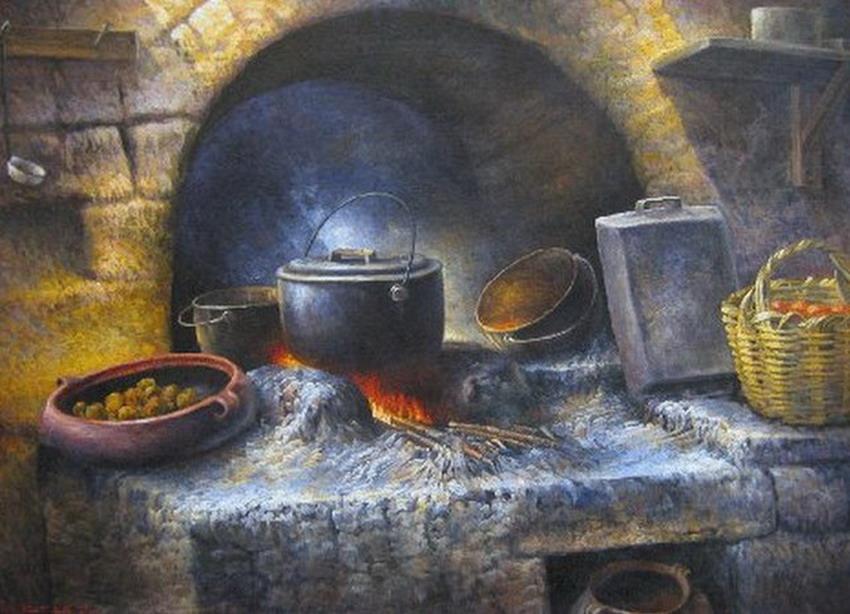 Cuadros modernos pinturas y dibujos estufas y hornillas for Cocinas de hierro antiguas