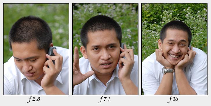 perbadingan hasil foto dg memakai angka f kecil dan angka f besar