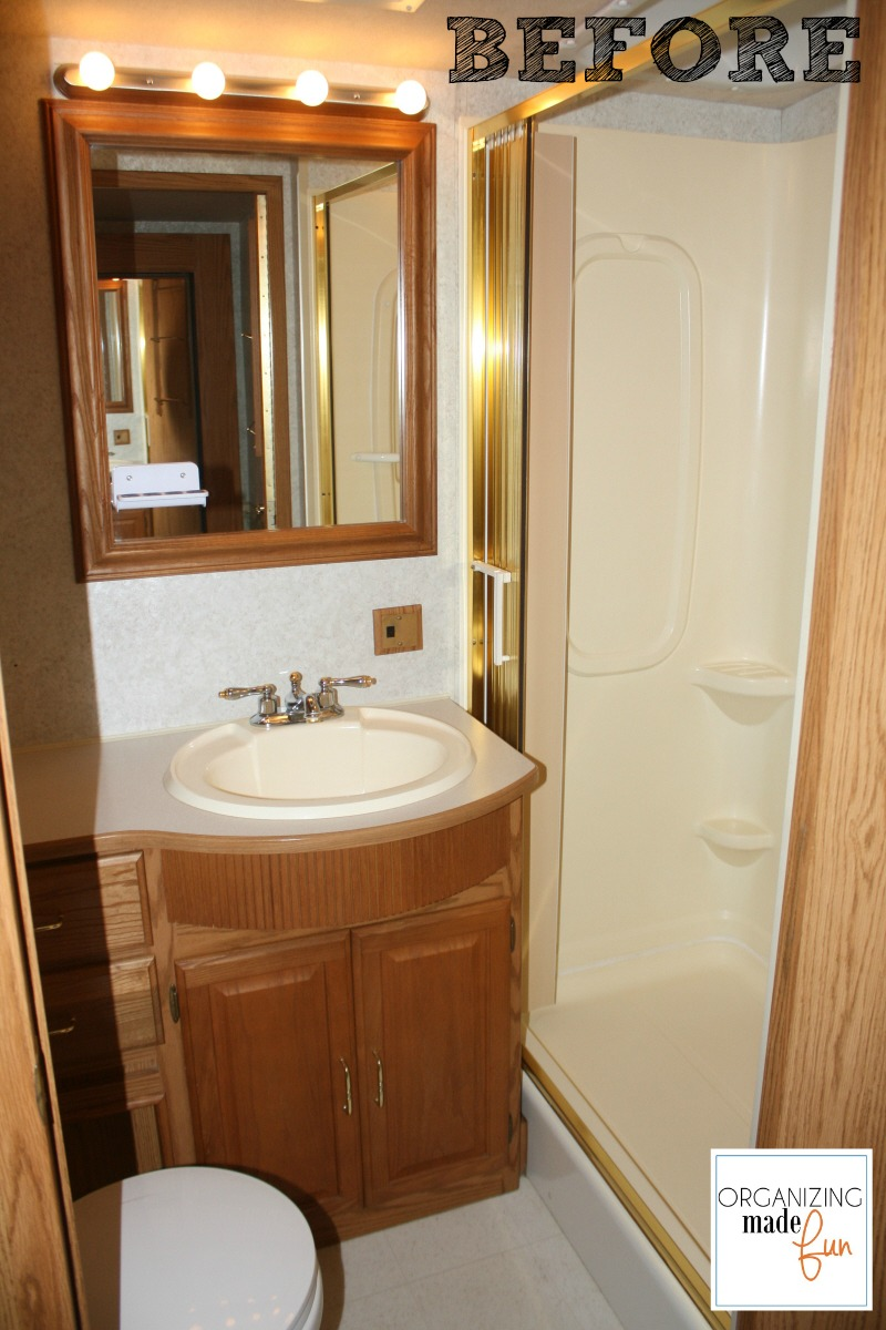 Vintage RV Bathroom BEFORE with brass shower OrganizingMadeFun